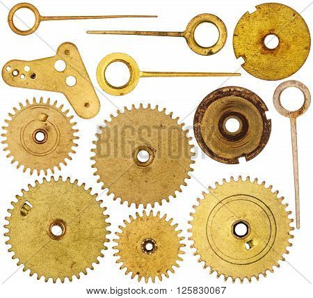 Collection of old clockwork parts isolated on white background
