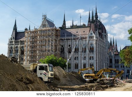 BUDAPEST HUNGARY - JUNE 19: Reconstruction of old building of Budapest Parliament in Hungary. Image was taken on June 19 2013.