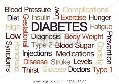 Diabetes Word Cloud on Light Brown Background