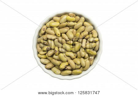 Yellow Giallorino beans in a ceramic pot isolated on white background