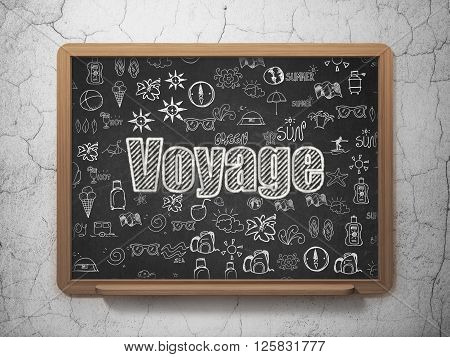 Vacation concept: Voyage on School board background