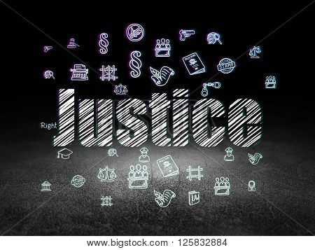 Law concept: Justice in grunge dark room