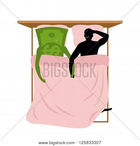 Love Of Money. Dollar And Man. Currency Lovers In Bed Top View. Man And Cash Lie In Bed. Smoking Aft
