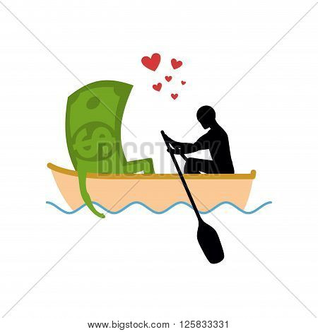 Man And Money And Ride In Boat. Lovers Of Sailing. Man Rolls Cash On Gondola. Appointment Of Dollar