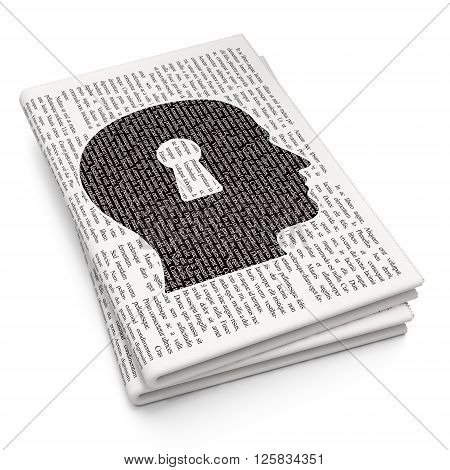 Studying concept: Head With Keyhole on Newspaper background