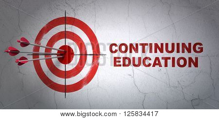Education concept: target and Continuing Education on wall background