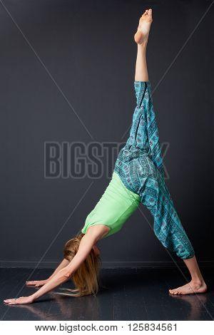 Yoga. Eka Pada Adho Mukha Shvanasana.