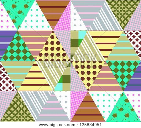 Seamless patchwork pattern. Geometric ethnic ornament. Vector illustration of quilt. Can be used for textiles, fabrics, textures, wrapping paper.