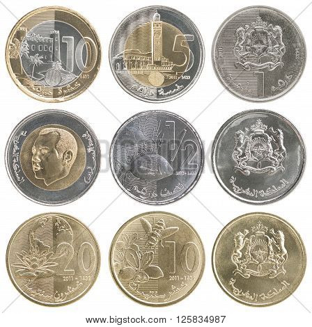 A complete set of new coins of Morocco isolated on white background