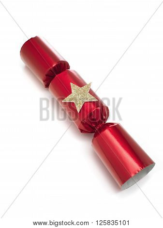 Red Christmas Cracker isolated on a white background