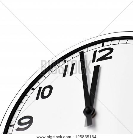 Close up clock face at 12 O'Clock