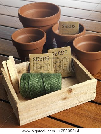 Gardening equipment including seed tray terracotta pots and string