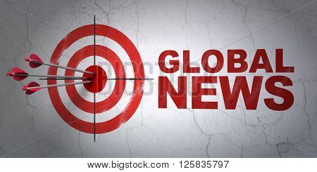 News concept: target and Global News on wall background