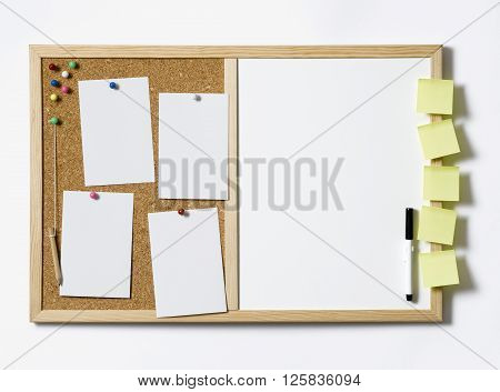 Cork Pinboard fully loaded with blank labels
