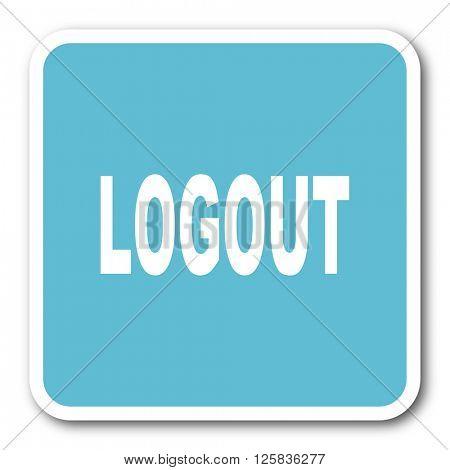 logout blue square internet flat design icon