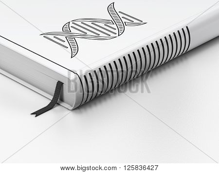 Science concept: closed book, DNA on white background