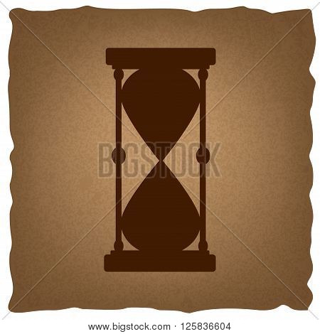 Hourglass sign. Coffee style on old paper.