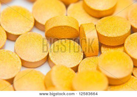 Closeup Of Orange Pharmaceutical Pills