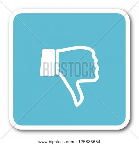 dislike blue square internet flat design icon