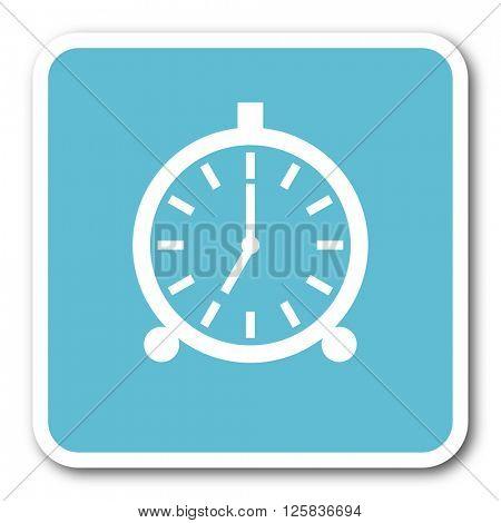 alarm blue square internet flat design icon