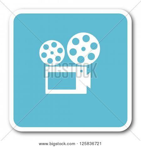 movie blue square internet flat design icon