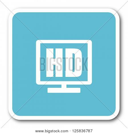 hd display blue square internet flat design icon