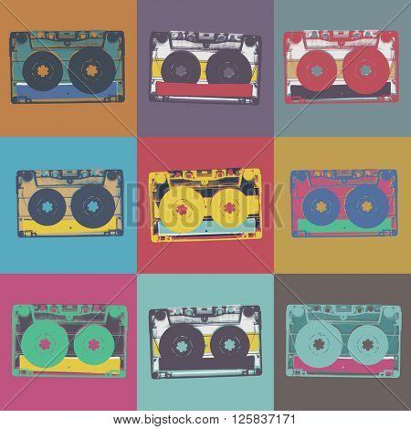 Audiocassette retro popart music seamless background.