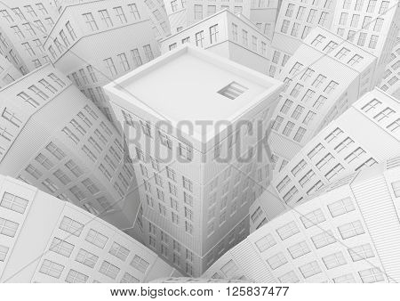 City center building roof top white 3d illustration horizontal