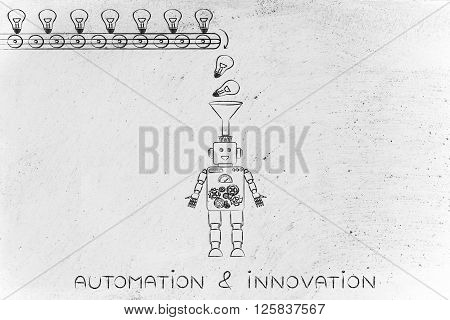 Robot With Funnel Collecting Knowledge, Automation & Innovation