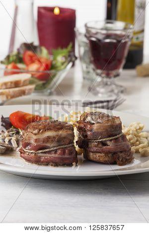 pork filet with bavarian spaetzle and wine