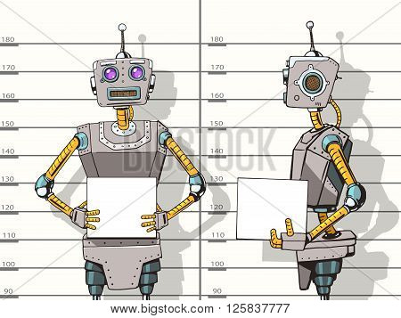 Robot arrested photo in police pop art style vector illustration. Robot illustration. Comic book style imitation. Vintage retro style robot. Conceptual illustration