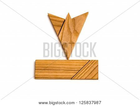 Puzzled wooden arrow pointed down on white background