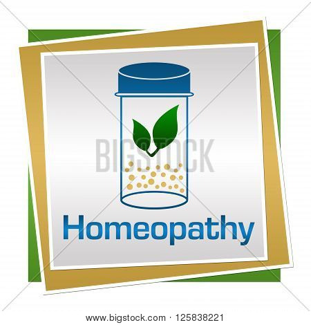 Homeopathy concept image with text and related graphics.