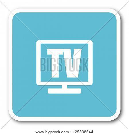 tv blue square internet flat design icon