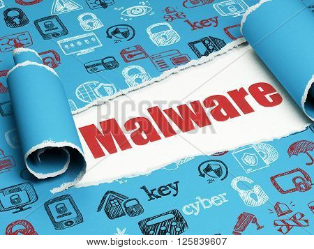 Security concept: red text Malware under the piece of  torn paper