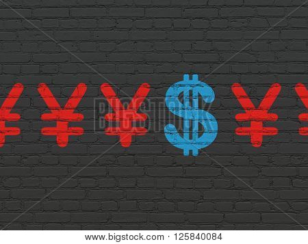 Banking concept: dollar icon on wall background