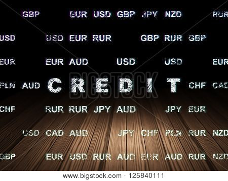 Currency concept: Credit in grunge dark room