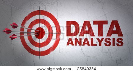Information concept: target and Data Analysis on wall background