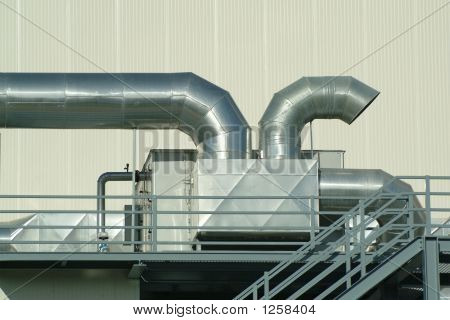 Chimney And Pipes In Plant