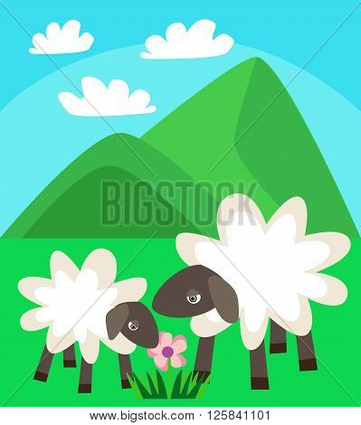 The family of sheep walking in a green meadow on a background of mountains and blue sky with clouds, loving and caring mother sheep helps her baby lamb vector flat illustration for print design or postcard