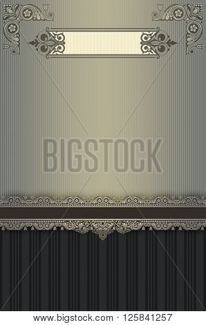 Vintage background with old-fashioned borderframe and decorative corners.