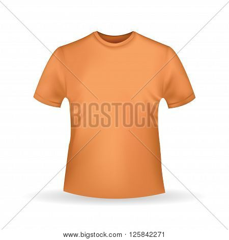 orange  T-shirt template isolated in realistic style on white background