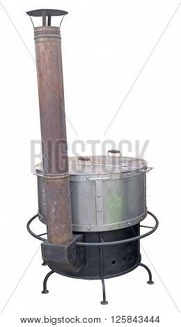 A new cast iron wood stove burning hot on a white background