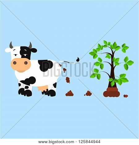 Dutch dairy cow pooping and fertilizing the land. Tree rising over compost. Isolated. Blue background.