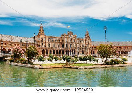 Famous landmark - Plaza de Espana in Seville, Andalusia, Spain. Renaissance Revival style. Spain Square.