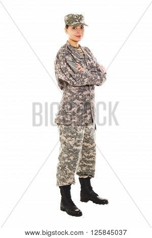 Soldier in the military uniform and boots isolated