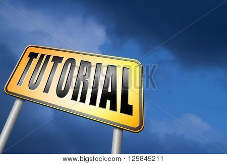 tutorial learn online video lesson or class, website education internet learning