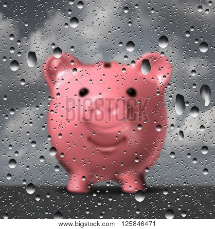 Rainy day fund as a piggy bank holding money set aside for financial challenges as a 3D illustration of a piggy bank as a glass with water drops or droplets.