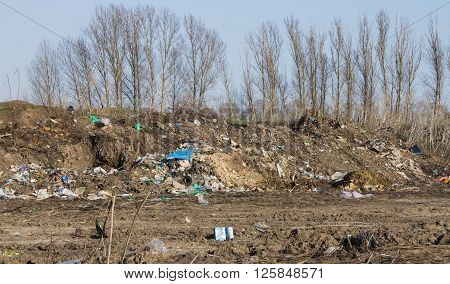 Dump heap of garbage and waste. Environmental pollution. Ecology