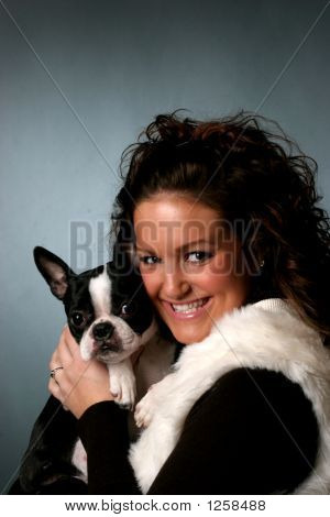 Pretty Teen And Boston Terrier Dog